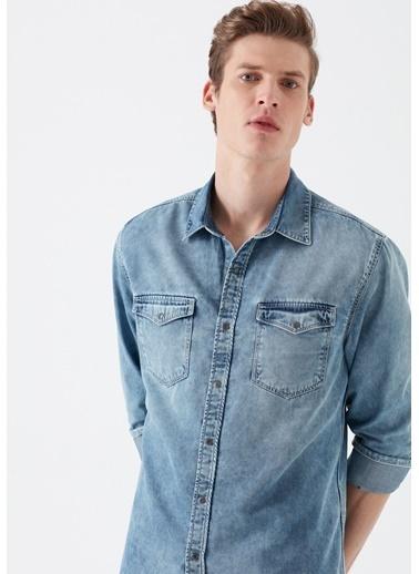 Mavi Rio Çift Cepli Jean Gömlek Renkli